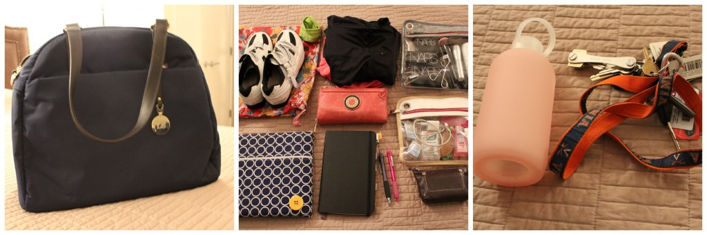 What S In My Bag This Is It Looks Like For A Work Day Followed By Spin Class Truffle Case With Iphone Charger Pens Headphones Tic Tacs